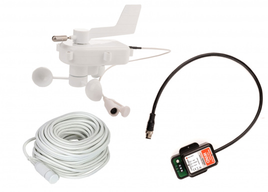 Affiche la direction du vent sur les écrans de votre réseau NMEA 2000 grâce à la girouette NASA NMEA 2000. Le système comprend une girouette-anémomètre V2 NASA (avec un câble de mât de 20m) et un convertisseur NMEA 0183 conçu spécialement pour les données vent.