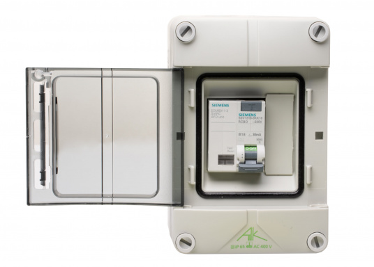 Shore connection unit with Arc Fault Detection Device (AFDD) and Circuit Breaker (RCD/RCCB) for permanent installation on the boat dock. Only with constant 230 V on-board power supply control, also suitable for use on board.