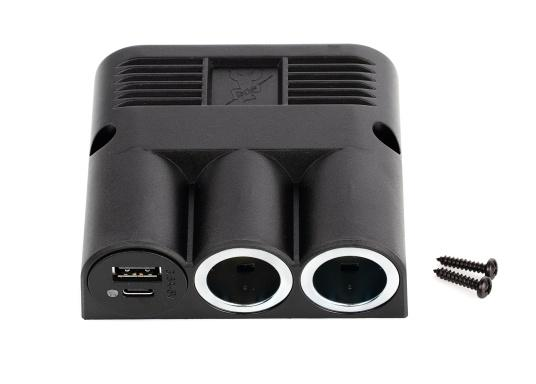 Surface mounted quadruple power socket with 2 USB sockets as well as 2 cigarette lighter sockets. The sockets are operated with 12-24 volts and have an integrated voltage regulator.