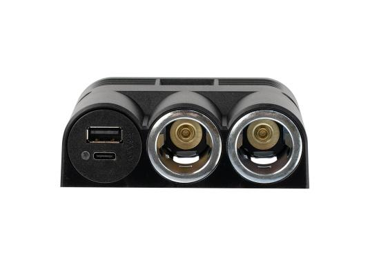 Surface mounted quadruple power socket with 2 USB sockets as well as 2 cigarette lighter sockets. The sockets are operated with 12-24 volts and have an integrated voltage regulator. (Afbeelding 2 of 3)