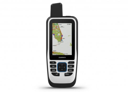 """Das GPSMAP 86s ist ein eigenständiges Backup-Navigationsgerät welches dank drahtloser Konnektivität außerdem als Erweiterung des Marinesystems dient. Das 3"""" große Display ist auch bei Sonneneinstrahlungen gut lesbar und verschaffteinen besseren Überblick und zusätzliche praktische Funktionen. (Bild 2 von 7)"""