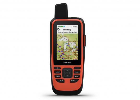 """Das GPSMAP 86i ist ein eigenständiges Backup-Navigationsgerät welches dank drahtloser Konnektivität außerdem als Erweiterung des Marinesystems dient. Das 3"""" große Display ist auch bei Sonneneinstrahlungen gut lesbar und verschaffteinen besseren Überblick und zusätzliche praktische Funktionen, wiedie Satellitenkommunikation für interaktive SOS-Notrufe. (Bild 2 von 11)"""