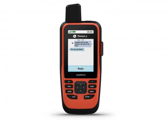 """Das GPSMAP 86i ist ein eigenständiges Backup-Navigationsgerät welches dank drahtloser Konnektivität außerdem als Erweiterung des Marinesystems dient. Das 3"""" große Display ist auch bei Sonneneinstrahlungen gut lesbar und verschaffteinen besseren Überblick und zusätzliche praktische Funktionen, wiedie Satellitenkommunikation für interaktive SOS-Notrufe. (Bild 4 von 11)"""