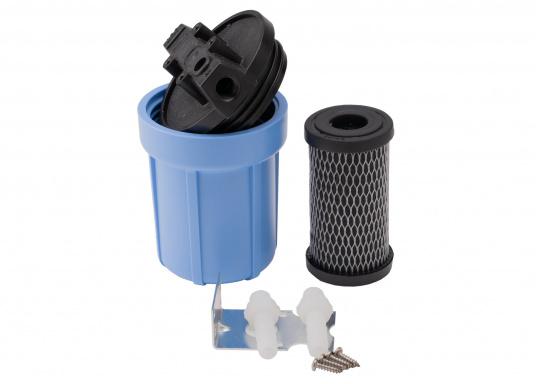 Das Wasserfiltersystem filtert zuverlässig gelöste Verunreinigungen und Sedimente aus Ihrem Trinkwasser. Die Filterleistung umfasst etwa 5.000 Liter.