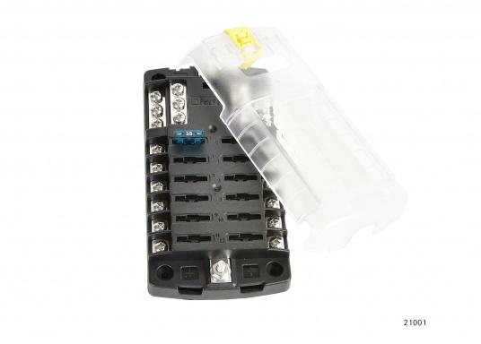 Kompakte Sicherungs-, Anschalt- und Verteilerbox für12 Verbraucher. Belastbarkeit bis zu 30 Amp. je Verbraucher (max. Systembelastung 100 Amp.).Die Sicherungsbox dient gleichzeitig als Verteilersystem für den Masseanschluss.  (Bild 2 von 4)
