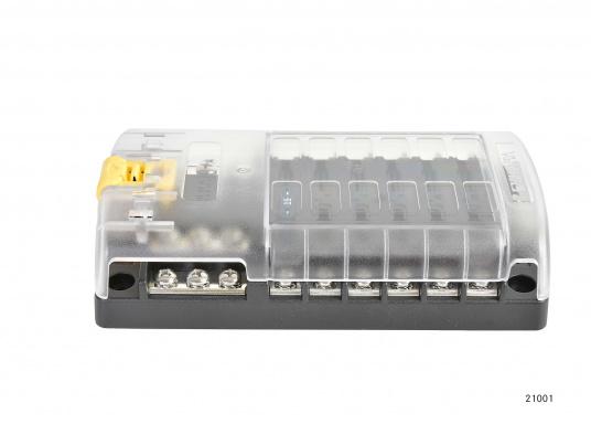 Kompakte Sicherungs-, Anschalt- und Verteilerbox für12 Verbraucher. Belastbarkeit bis zu 30 Amp. je Verbraucher (max. Systembelastung 100 Amp.).Die Sicherungsbox dient gleichzeitig als Verteilersystem für den Masseanschluss.  (Bild 4 von 4)