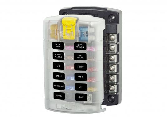 Kompakte Sicherungs-, Anschalt- und Verteilerbox für12 Verbraucher. Belastbarkeit bis zu 30 Amp. je Verbraucher (max. Systembelastung 100 Amp.).Die Sicherungsbox dient gleichzeitig als Verteilersystem für den Masseanschluss.