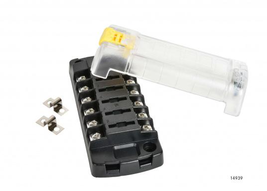 Kompakte ATO-Sicherungs-, Anschalt- und Verteilerbox für 6Verbraucher. Belastbarkeit bis zu 30 Amp. je Verbraucher (max. Systembelastung 100 Amp.).Die Sicherungsbox dient gleichzeitig als Verteilersystem für den Masseanschluss.  (Bild 2 von 3)