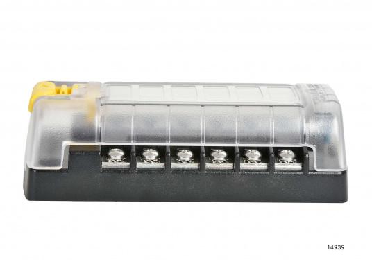 Kompakte ATO-Sicherungs-, Anschalt- und Verteilerbox für 6Verbraucher. Belastbarkeit bis zu 30 Amp. je Verbraucher (max. Systembelastung 100 Amp.).Die Sicherungsbox dient gleichzeitig als Verteilersystem für den Masseanschluss.  (Bild 3 von 3)