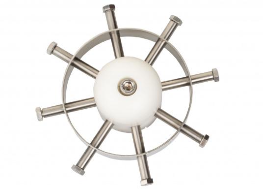 Überaus praktischer Bugstrahlruderschutz! Das Gitter schützt den Propeller sowie den Tunnel vor Beschädigungen und vermeidet zuverlässig Fehlfunktionen durch Fremdkörper.Die Installation erfolgt ohne Bohren, Schrauben oder Nieten in den Schiffsrumpf.Geeignet für Tunnel mit einem Durchmesser von 185 mm. Im Lieferumfang sind zwei Stück enthalten. (Bild 2 von 5)