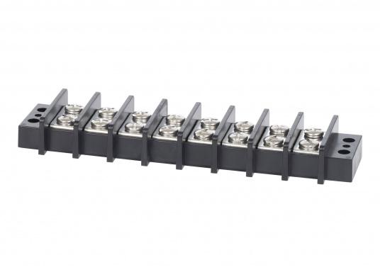 Diese Reihenklemmemit5 Brücken bietetmit jedem Schraubenpaar einen isolierten Anschluss. Die geschlossene Konstruktion sorgt für eine komplette Isolierung des Stroms von der Montagefläche.