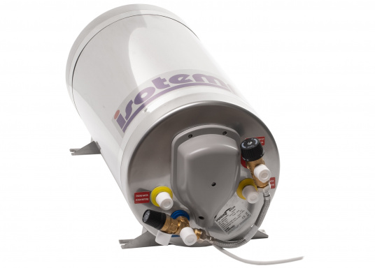 Die Warmwasserboiler SLIM bestehen aus rostfreiem Edelstahl und verfügen über einen integrierten Heizstab (230 V - 750 W), einen Thermostatmischer und einer Polyurethan-Dämmung.Erhältlich in unterschiedlichen Größen. (Bild 3 von 4)