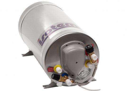 Die Warmwasserboiler SLIM bestehen aus rostfreiem Edelstahl und verfügen über einen integrierten Heizstab (230 V - 750 W), einen Thermostatmischer und einer Polyurethan-Dämmung.Erhältlich in unterschiedlichen Größen.