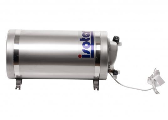 Die Warmwasserboiler SLIM bestehen aus rostfreiem Edelstahl und verfügen über einen integrierten Heizstab (230 V - 750 W), einen Thermostatmischer und einer Polyurethan-Dämmung.Erhältlich in unterschiedlichen Größen. (Bild 2 von 4)