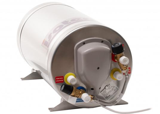Die Warmwasserboiler SLIM bestehen aus rostfreiem Edelstahl und verfügen über einen integrierten Heizstab (230 V - 750 W), einen Thermostatmischer und einer Polyurethan-Dämmung.Erhältlich in unterschiedlichen Größen. (Bild 4 von 4)