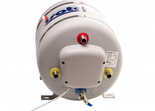 Die Warmwasserboiler SPA verfügen über einen integrierten Heizstab (230 V - 750 W), ein kombiniertes Sicherheits- und Rückschlagventil sowie eine Polyurethan-Dämmung. Erhältlich in unterschiedlichen Größen. (Bild 2 von 7)