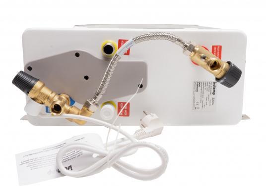 Der Warmwasserboiler SQUARE besteht aus rostfreiem Edelstahl und verfügt über einen integrierten Heizstab (230 V - 750 W), ein Mischventil und einer Polyurethan-Dämmung. (Bild 4 von 4)