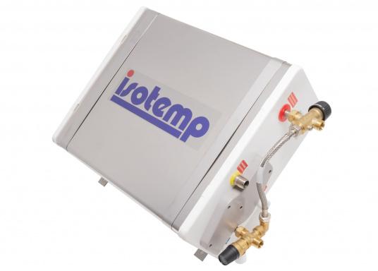 Der Warmwasserboiler SQUARE besteht aus rostfreiem Edelstahl und verfügt über einen integrierten Heizstab (230 V - 750 W), ein Mischventil und einer Polyurethan-Dämmung.