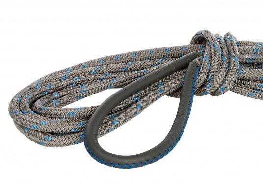 Amarre haute performance avec fourrage cuir, amortisseur et œil épissé Coloris : titane et liserés bleus.   (Image 4 de 7)
