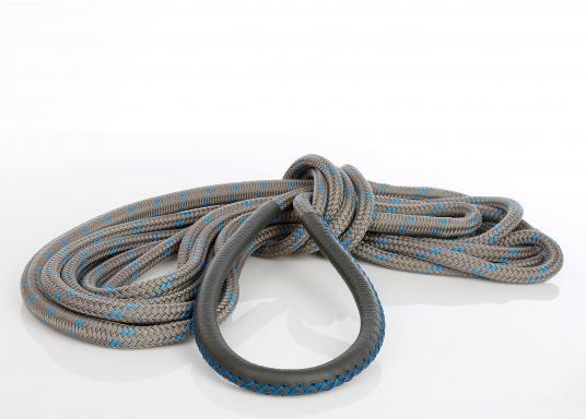 Amarre haute performance avec fourrage cuir, amortisseur et œil épissé Coloris : titane et liserés bleus.   (Image 6 de 7)