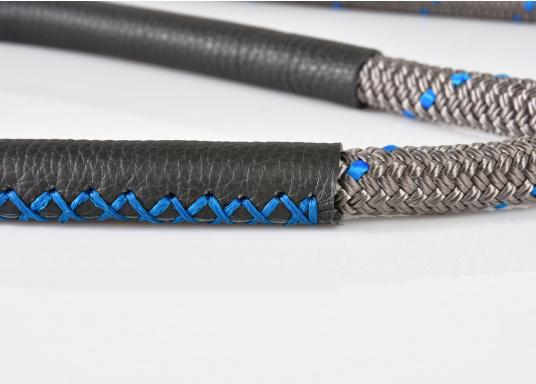 Amarre haute performance avec fourrage cuir, amortisseur et œil épissé Coloris : titane et liserés bleus.   (Image 7 de 7)