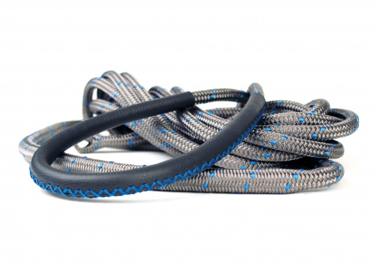 Amarre haute performance avec fourrage cuir, amortisseur et œil épissé Coloris : titane et liserés bleus.   (Image 3 de 7)