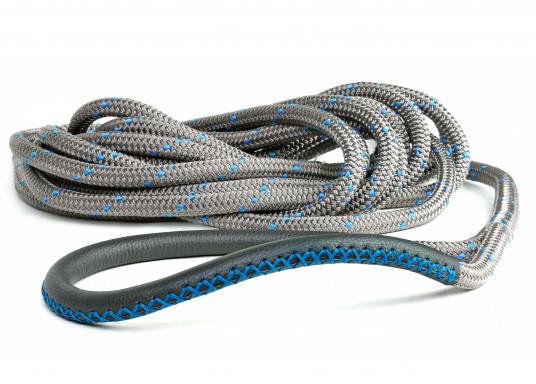 Amarre haute performance avec fourrage cuir, amortisseur et œil épissé Coloris : titane et liserés bleus.   (Image 5 de 7)