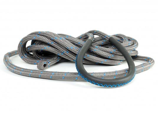 Amarre haute performance avec fourrage cuir, amortisseur et œil épissé Coloris : titane et liserés bleus.