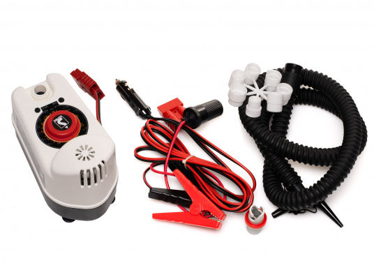 This air pump is ideal for inflating SUPs, inflatable boats, tubes, fenders, air mattresses, etc. Power: 160 l / min.