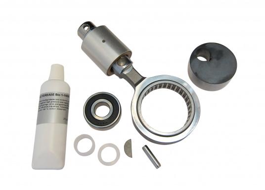 Dieses Service-Set wird benötigt, um den Exzenterantrieb von ölgeschmiert auf fettgeschmiert umzustellen. Geeignet für die Entsalzerpumpen PowerSurvivor 40, 80 und 160 von Katadyn.