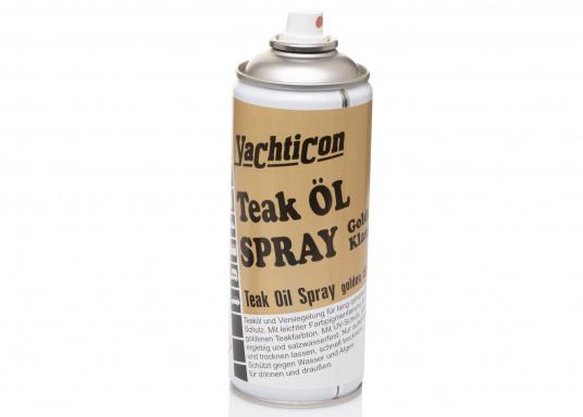 Das Teak Öl-Spray Golden Klassik sorgt für langanhaltenden Schutz behandelter Teakflächen und ist bestens geeignet für das schnelle Ölen und Versiegeln zwischendurch. (Bild 2 von 3)