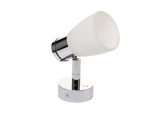 """Die hochwertige LED-Wandleuchte R1-1 von PREBIT überzeugt mit hellem und angenehm, warmweißen Licht sowie integrierter Dimmfunktion """"Dim2Warm"""" und Memoryfunktion. Farbe: chrom-glänzend mit kreideweißem Glas. (Bild 3 von 4)"""