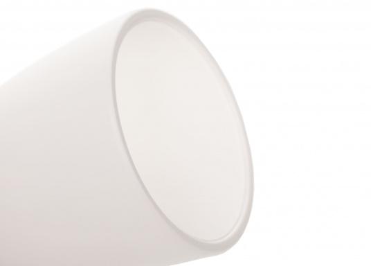 """Die hochwertige LED-Wandleuchte R1-1 von PREBIT überzeugt mit hellem und angenehm, warmweißen Licht sowie integrierter Dimmfunktion """"Dim2Warm"""", Memoryfunktion und USB-Ladebuchse. Farbe: chrom-glänzend mit satiniert-weißem Glas. (Bild 7 von 7)"""