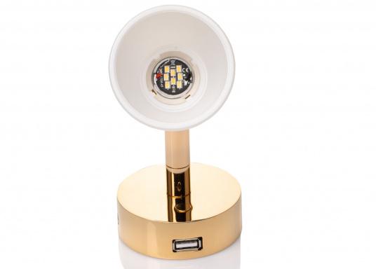 """Die hochwertige LED-Anbauleuchte R1-1 von PREBIT überzeugt mit hellem und angenehm, warmweißen Licht sowie integrierter Dimmfunktion """"Dim2Warm"""", Memoryfunktion und USB-Ladebuchse. Farbe: gold-glänzend mit satiniert-weißem Glas. (Bild 2 von 5)"""