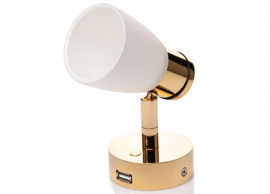 """Die hochwertige LED-Anbauleuchte R1-1 von PREBIT überzeugt mit hellem und angenehm, warmweißen Licht sowie integrierter Dimmfunktion """"Dim2Warm"""", Memoryfunktion und USB-Ladebuchse. Farbe: gold-glänzend mit satiniert-weißem Glas. (Bild 3 von 5)"""