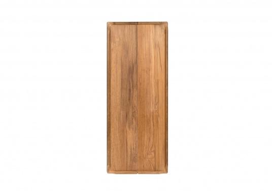 Die hochwertige und massive Klapptischplatte aus Teak kann ideal als Esstisch verwendet werden. Witterungsbeständig und leicht zu pflegen. Lieferung ohne Tischbein. (Bild 2 von 8)