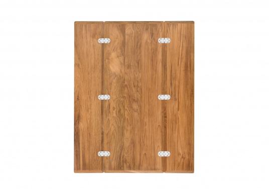 Die hochwertige und massive Klapptischplatte aus Teak kann ideal als Esstisch verwendet werden. Witterungsbeständig und leicht zu pflegen. Lieferung ohne Tischbein. (Bild 3 von 8)