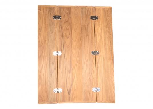 Die hochwertige und massive Klapptischplatte aus Teak kann ideal als Esstisch verwendet werden. Witterungsbeständig und leicht zu pflegen. Lieferung ohne Tischbein. (Bild 5 von 8)
