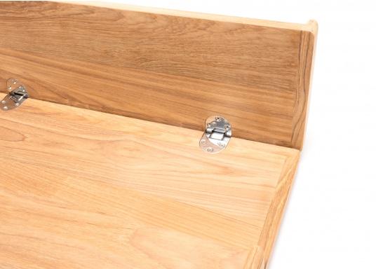 Die hochwertige und massive Klapptischplatte aus Teak kann ideal als Esstisch verwendet werden. Witterungsbeständig und leicht zu pflegen. Lieferung ohne Tischbein. (Bild 6 von 8)