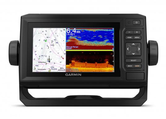 """Der Kartenplotter ECHOMAP 62cv UHDinkl. GT24-UHD-TM-Geberist auch bei Sonneneinstrahlung gut lesbar. Ausgestattet mit einem 6"""" Touchscreen und einem Haltebügel mit Schnellentriegelung. Der im Lieferumfang enthaltene Geber liefert per Ultra-HD ClearVü ein gestochen scharfes Bild sowie traditionelle High-Wide CHIRP Echolotbilder mit weiteren detailgenauen Unterwasserstrukturen. (Bild 3 von 12)"""