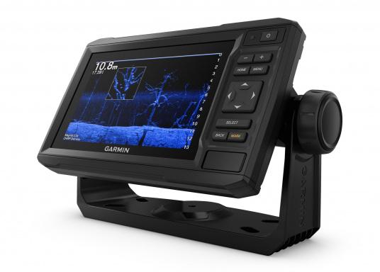 """Der Kartenplotter ECHOMAP 62cv UHDinkl. GT24-UHD-TM-Geberist auch bei Sonneneinstrahlung gut lesbar. Ausgestattet mit einem 6"""" Touchscreen und einem Haltebügel mit Schnellentriegelung. Der im Lieferumfang enthaltene Geber liefert per Ultra-HD ClearVü ein gestochen scharfes Bild sowie traditionelle High-Wide CHIRP Echolotbilder mit weiteren detailgenauen Unterwasserstrukturen. (Bild 4 von 12)"""