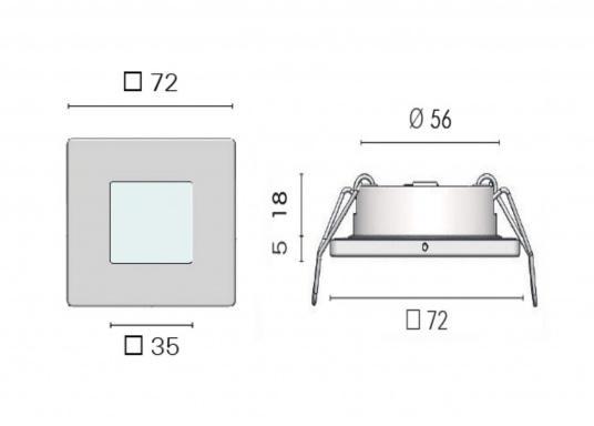 Die LED-Einbauleuchte THABIT Q ist dank des modernen Designs ein richtiger Hingucker. Sie sieht nicht nur schick aus, sondern erzeugt auch mit ihrer warmweißen Lichtfarbe eine angenehme Atmosphäre. Ebenfalls bietet diese spezielle Leuchte eine einfache Montage sowie ein robustes Gehäuse aus Edelstahl. (Bild 4 von 4)