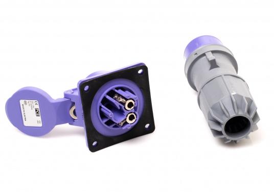 Solide 2-polige Steckverbindung für 12/24 Volt, bestehend aus Stecker und An-/Einbausteckdose. Die Steckverbindung eignet sich besonders gut für die Übergabe hoher Ströme wie beispielsweise für Elektroaußenborder, mobile Kompressoren, leistungsstarke Pumpen etc.. Belastbarkeit max. 32 Ampere. (Bild 3 von 3)