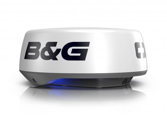 """Das Pulskompressionsradar HALO20+ von B&G identifiziert mithilfe der innovativen VelocityTrack-Doppler-Technologie sofort Gefahren auf kleiner und großer Distanz. Dank der unschlagbaren Rotation von bis zu 60 U/min bietet die 20"""" Radarantenne eine nahezu Echtzeitansicht und ermöglicht Ihnen die ultimative Kollisionsvermeidung.Lieferung inklusive 20 m Radarkabel. (Bild 2 von 2)"""