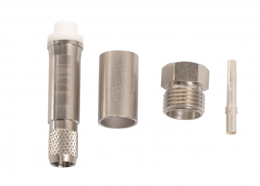 FME crimp plug (female) for RG8X coaxial cable.