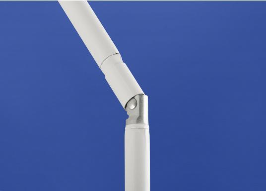 Sonnenschirm mit pulverbeschichtetem, weißem Stahl-Gestell. Der Stock hat einen Durchmesser von 22 mm, einen Metallknicker und einen Drehfeststeller. Abmessungen: 180 x 120 cm. (Bild 3 von 6)