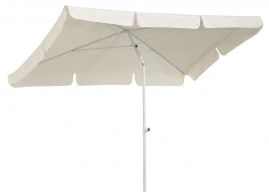 Sonnenschirm mit pulverbeschichtetem, weißem Stahl-Gestell. Der Stock hat einen Durchmesser von 22 mm, einen Metallknicker und einen Drehfeststeller. Abmessungen: 180 x 120 cm.