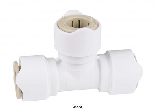 T-Stück fürs Connect Rohrleitungssystem. Besonders zuverlässiges Rohrleitungssystem, speziell geeignet für den Einsatz an Bord! Schnelle Installation: Dank vorgegebener Schnittmarken ist ein Ablängen der Rohre ganz einfach möglich.