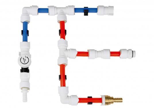 T-Stück fürs Connect Rohrleitungssystem. Besonders zuverlässiges Rohrleitungssystem, speziell geeignet für den Einsatz an Bord! Schnelle Installation: Dank vorgegebener Schnittmarken ist ein Ablängen der Rohre ganz einfach möglich.  (Bild 2 von 2)