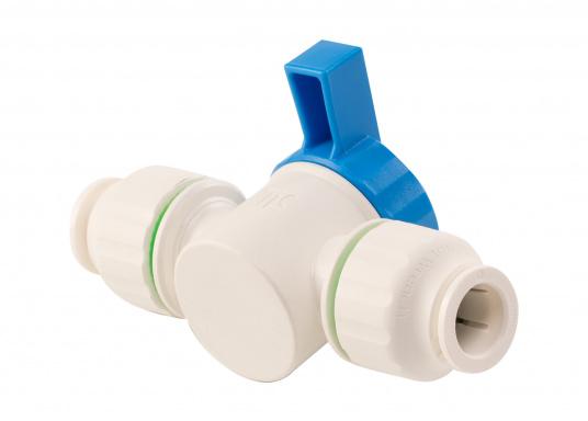 Absperrventil fürs Connect Rohrleitungssystem. Besonders zuverlässiges Rohrleitungssystem, speziell geeignet für den Einsatz an Bord! Schnelle Installation: Dank vorgegebener Schnittmarken ist ein Ablängen der Rohre ganz einfach möglich.  (Bild 4 von 6)
